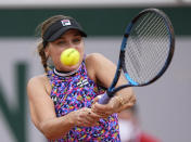 United States's Sofia Kenin plays a return to United States's Jessica Pegula during their third round match on day 7, of the French Open tennis tournament at Roland Garros in Paris, France, Saturday, June 5, 2021. (AP Photo/Michel Euler)