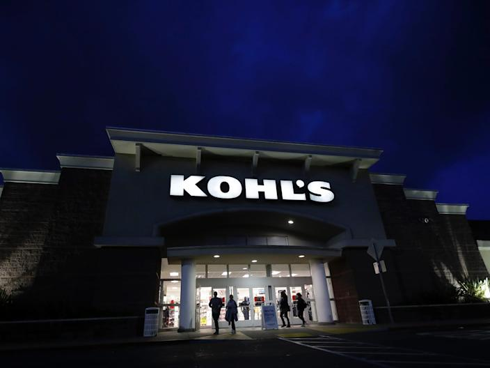 "Customers walk outside of a Kohl's store in Colma, California in November 2019. <p class=""copyright"">AP Photo/Jeff Chiu, File</p>"