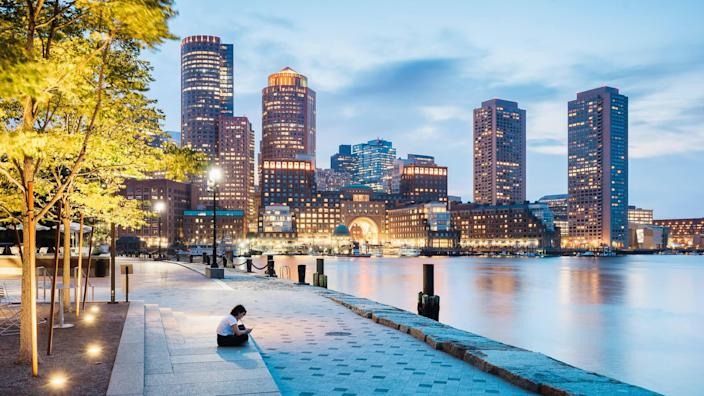 Surfing the net on smart phone in Boston.