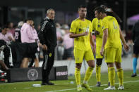 Nashville head coach Gary Smith watches from the sidelines during the second half of an MLS soccer match against the Inter Miami, Wednesday, Sept. 22, 2021, in Fort Lauderdale, Fla. (AP Photo/Rebecca Blackwell)