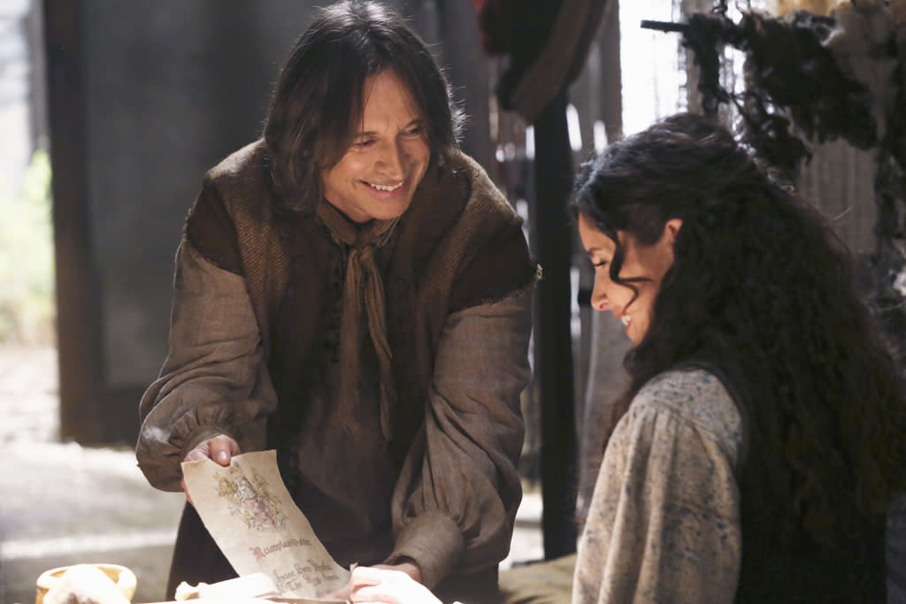 """Manhattan"" - While Mr. Gold, Emma and Henry go in search of Gold's son Bae in New York, Cora, Regina and Hook attempt to track down one of Rumplestiltskin's most treasured possessions. Meanwhile, in the fairytale land that was, Rumplestiltskin realizes his destiny while fighting in the Ogres War, on ""Once Upon a Time."""