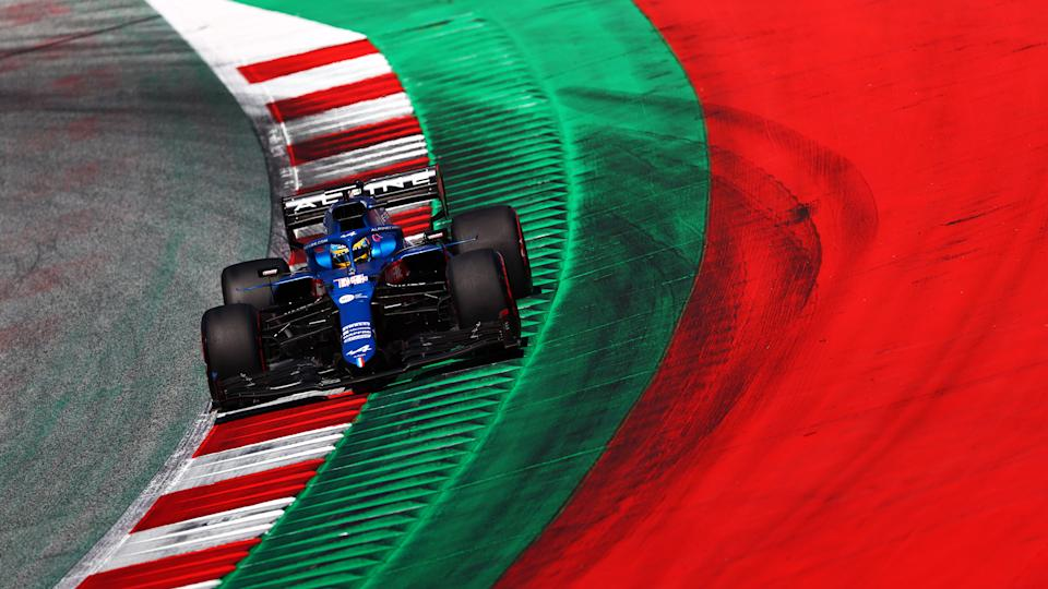 SPIELBERG, AUSTRIA - JUNE 26: Fernando Alonso of Spain driving the (14) Alpine A521 Renault during qualifying ahead of the F1 Grand Prix of Styria at Red Bull Ring on June 26, 2021 in Spielberg, Austria. (Photo by Dan Istitene - Formula 1/Formula 1 via Getty Images)