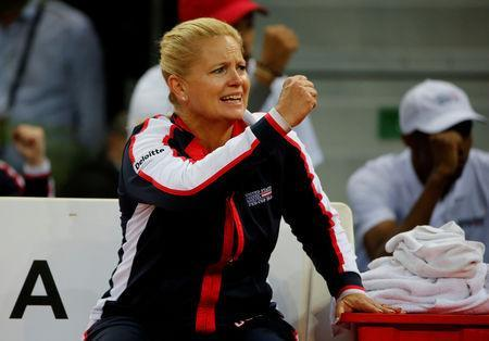 FILE PHOTO: U.S. Captain Kathy Rinaldi celebrates during the match between Sloane Stephens of the U.S. and France's Pauline Parmentier, April 21, 2018. REUTERS/Jean-Paul Pelissier/File Photo