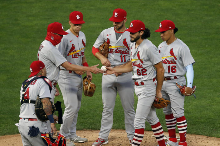 The St. Louis Cardinals have played only five games so far in 2020 because of a COVID-19 outbreak that spread through the team. (AP Photo/Jim Mone)