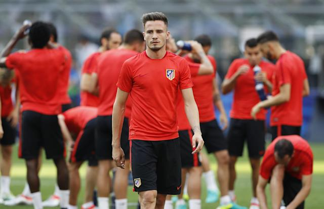 Football Soccer - Atletico Madrid Training - San Siro Stadium, Milan, Italy - 27/5/16 Atletico Madrid's Saul Niguez during training Reuters / Stefan Wermuth Livepic EDITORIAL USE ONLY.