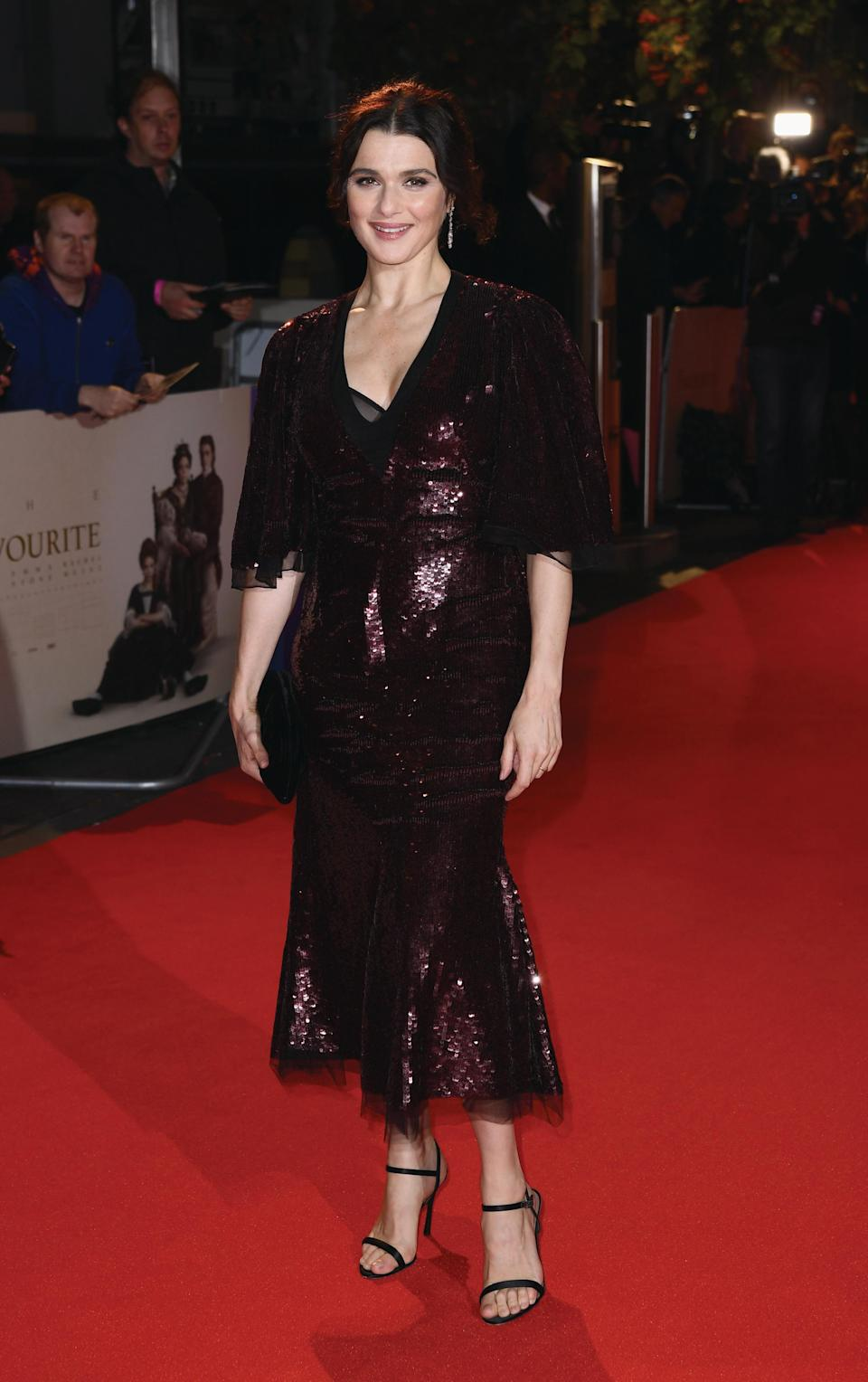 <p>Rachel turned to Alexander McQueen for her sequin-covered plum dress. <em>[Photo: Getty for the BFI]</em> </p>