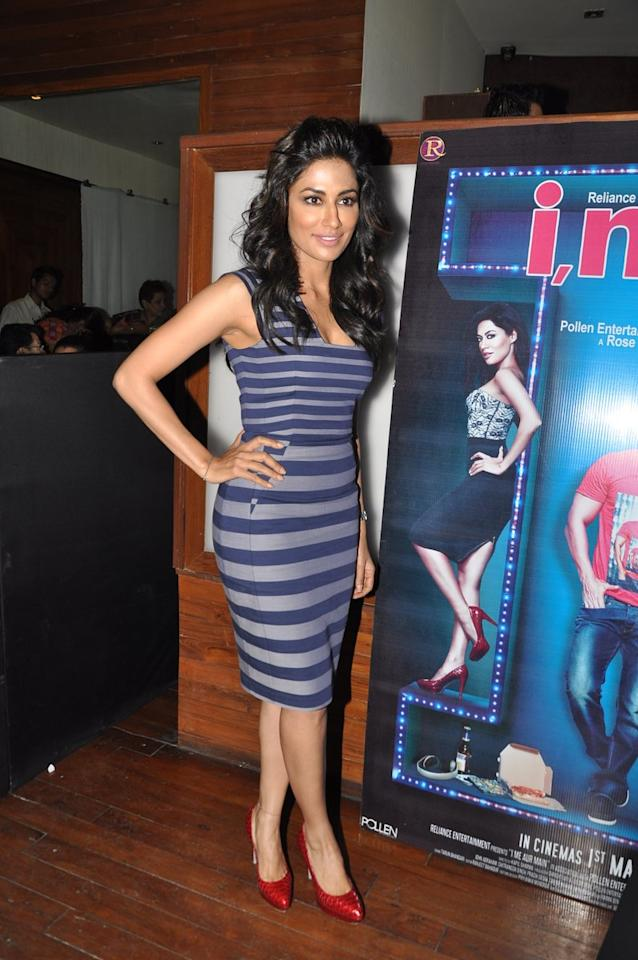 I Me Aur Main star Chitrangada Singh keeps it sexy and chic in this striped fitted dress.