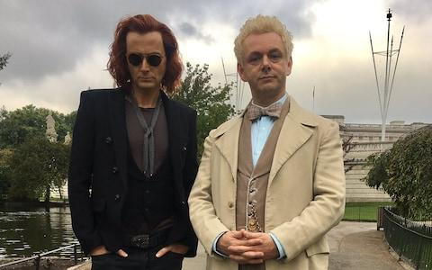 David Tennant (left) Michael Sheen in the forthcoming Good Omens - Credit: Neil Gaiman/Twitter