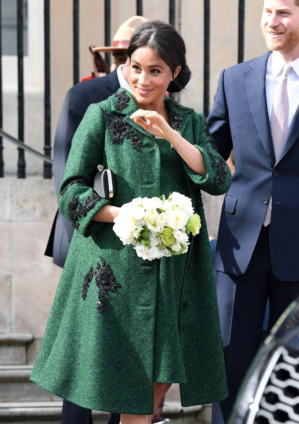 """<p><a href=""""https://www.townandcountrymag.com/society/tradition/a26782344/meghan-markle-erdem-coat-canada-house/"""" rel=""""nofollow noopener"""" target=""""_blank"""" data-ylk=""""slk:The Duchess of Sussex wore a custom Erdem coat"""" class=""""link rapid-noclick-resp"""">The Duchess of Sussex wore a custom Erdem coat</a> and dress to an event at Canada House on Commonwealth day, which featured intricate floral details.<br></p>"""