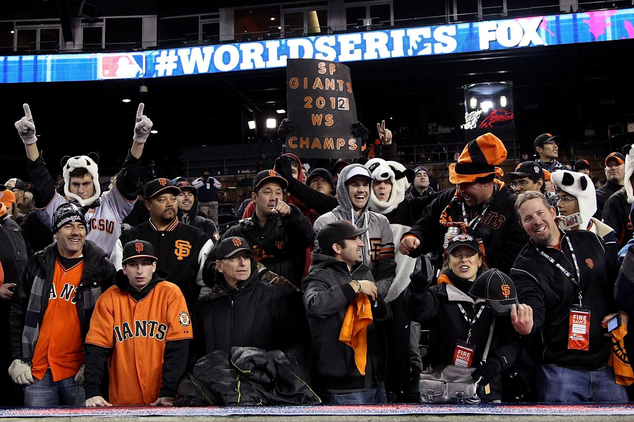 DETROIT, MI - OCTOBER 28:  The San Francisco Giants fans cheer after defeating the Detroit Tigers in the tenth inning to win Game Four of the Major League Baseball World Series at Comerica Park on October 28, 2012 in Detroit, Michigan. The San Francisco Giants defeated the Detroit Tigers 4-3 in the tenth inning to win the World Series in 4 straight games.  (Photo by Christian Petersen/Getty Images)