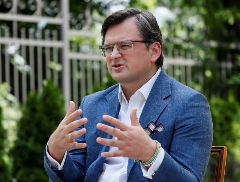 Ukrainian Foreign Minister Kuleba speaks during an interview in Kyiv
