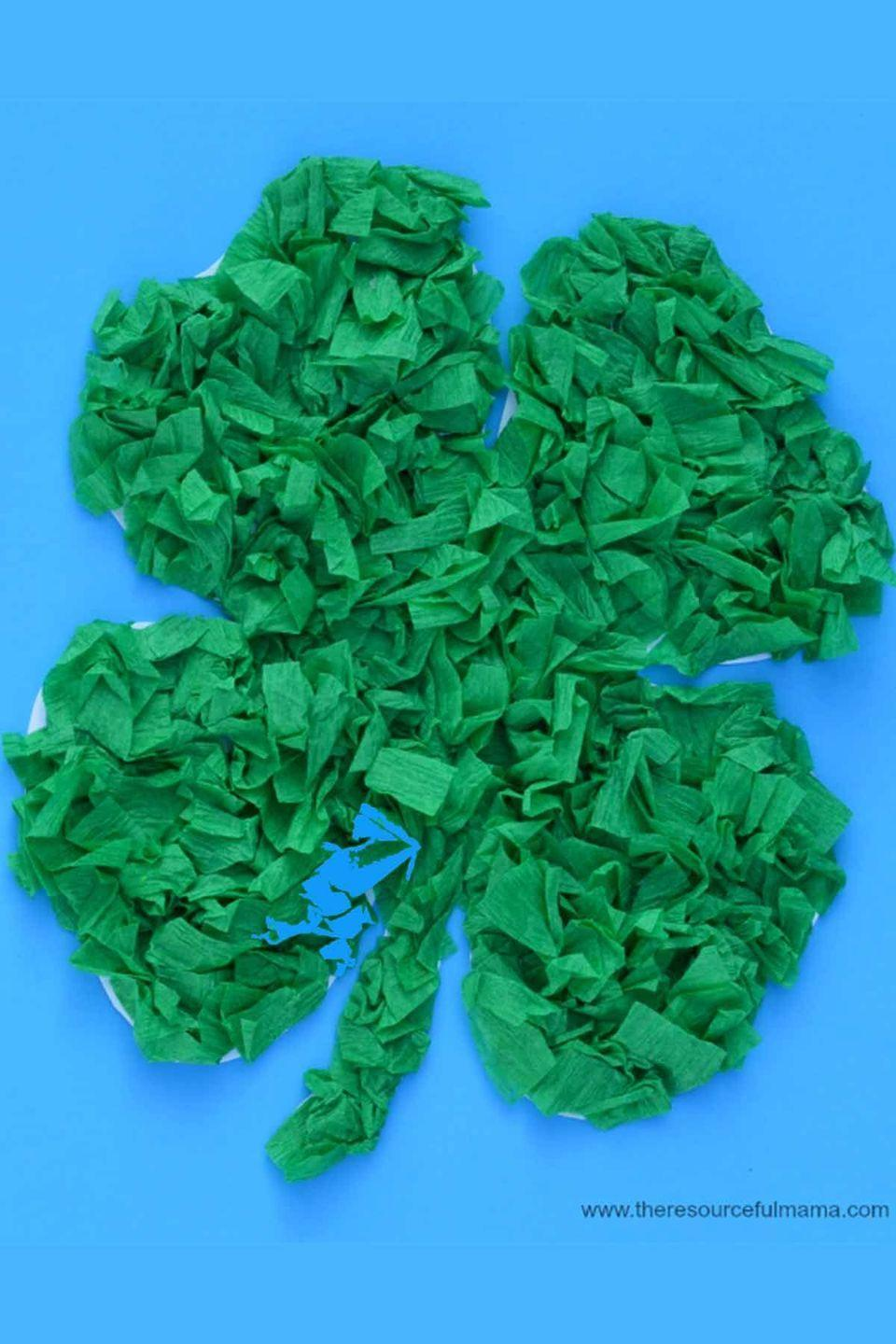 """<p>These cute clovers are easy enough for <a href=""""https://www.womansday.com/home/crafts-projects/"""" rel=""""nofollow noopener"""" target=""""_blank"""" data-ylk=""""slk:preschoolers to tackle."""" class=""""link rapid-noclick-resp"""">preschoolers to tackle.</a></p><p><em>Get the tutorial at <a href=""""http://www.theresourcefulmama.com/crepe-paper-shamrock-st-patricks-day-kid-craft/"""" rel=""""nofollow noopener"""" target=""""_blank"""" data-ylk=""""slk:The Resourceful Mama"""" class=""""link rapid-noclick-resp"""">The Resourceful Mama</a>.</em> </p>"""