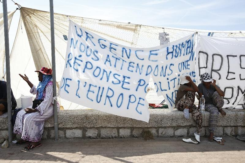 A makeshift camp set up by a group of migrants who were denied entry into France is seen on June 22, 2015 in Ventimiglia near the Italian-French border post