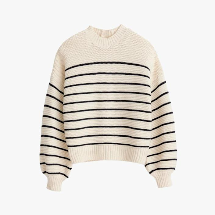"""$120, ALEX MILL. <a href=""""https://www.alexmill.com/collections/sweatshirts-sweaters-womens/products/button-back-crewneck-sweater-in-ivory-dark-navy"""" rel=""""nofollow noopener"""" target=""""_blank"""" data-ylk=""""slk:Get it now!"""" class=""""link rapid-noclick-resp"""">Get it now!</a>"""