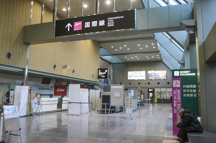 Photo taken Feb. 10, 2020, shows the international flight lobby of Matsuyama airport in Ehime Prefecture. All China bound flights from the western Japan airport have been canceled for the time being due to the spread of the new coronavirus. 2
