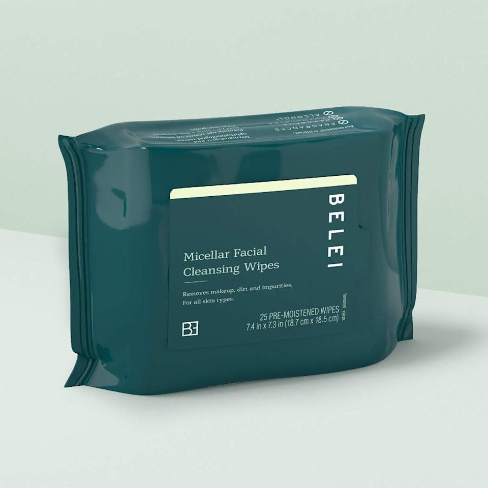 """<h3>Belei Micellar Facial Cleansing Wipes<br></h3><br>Do I wish they were biodegradable? Of course. That said, judging it solely on its ability to remove makeup and cleanse my skin, these Belei wipes pass the Amazon beauty gem test with flying colors. <br><br>If I had to judge it blind, I'd never guess that these were just $4.50 a pack: they feel durable, yet not too thick, and the micellar water formula whisks away foundation, lipstick, and any sort of makeup. Yes, including mascara — but, I really prefer not to use wipes around my eyes since it can be easy to pull or tug the delicate skin. These are also thick enough that I cut them in thirds making the whole pack a super-value.<br><br><strong>Final Verdict: Cart</strong><br><br><strong>Belei</strong> Oil-Free Micellar Facial Cleansing Wipes (Pack of 2), $, available at <a href=""""https://amzn.to/3aCZYYs"""" rel=""""nofollow noopener"""" target=""""_blank"""" data-ylk=""""slk:Amazon"""" class=""""link rapid-noclick-resp"""">Amazon</a>"""
