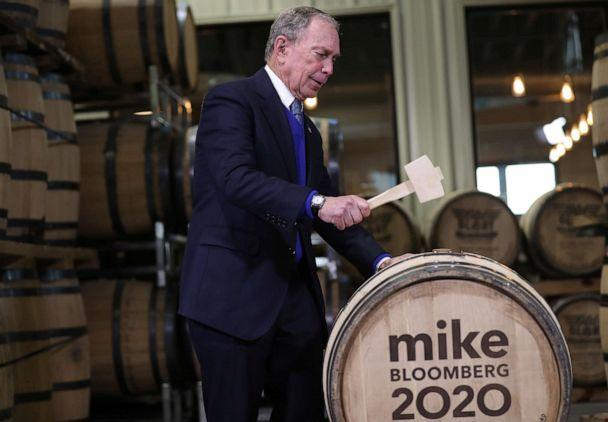 PHOTO: CLARKSVILLE, TN- FEBRUARY 28: Democratic presidential candidate Mike Bloomberg uses a mallet to seal a barrel of bourbon that is named after him as he visits the Old Glory Distilling Company on February 28, 2020 in Clarksville, Tennessee. (Joe Raedle/Getty Images)