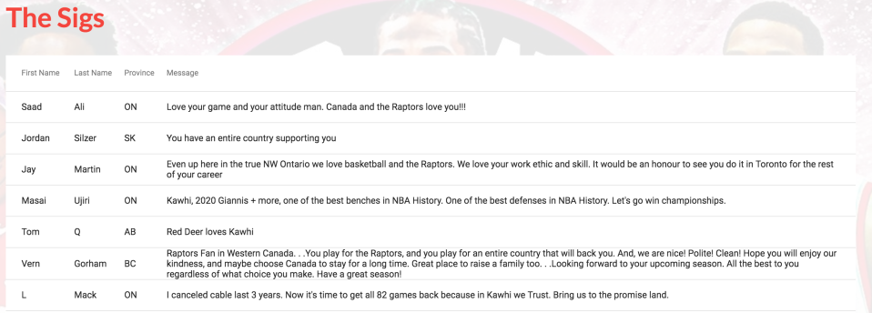 """There are over 500 pages of comments on the """"Kawhi or die"""" site. (Source: www.kawhiordie.com)"""