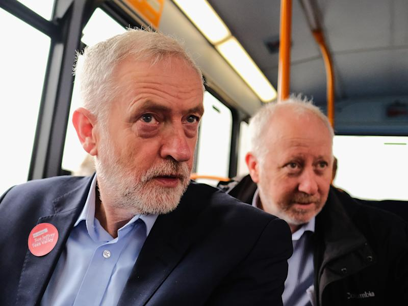 """Andy McDonald (R), the shadow transport secretary, has accused the BBC of """"consciously"""" wanting Jeremy Corbyn to lose. (Photo: Ian Forsyth via Getty Images)"""