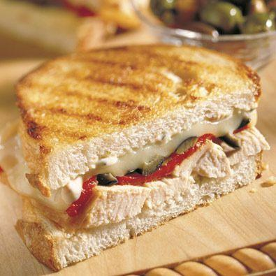 """<p>Jarred roasted red peppers upgrade this toasted turkey sandwich.</p><p>Get the recipe from <a href=""""https://www.delish.com/cooking/recipe-ideas/recipes/a29153/turkey-and-roasted-pepper-panini/"""" rel=""""nofollow noopener"""" target=""""_blank"""" data-ylk=""""slk:Delish"""" class=""""link rapid-noclick-resp"""">Delish</a>.</p>"""