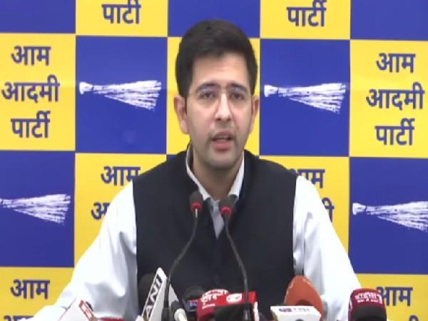 AAP leader Raghav Chaddha addressing a press conference in Delhi on Monday. [Photo/ANI]