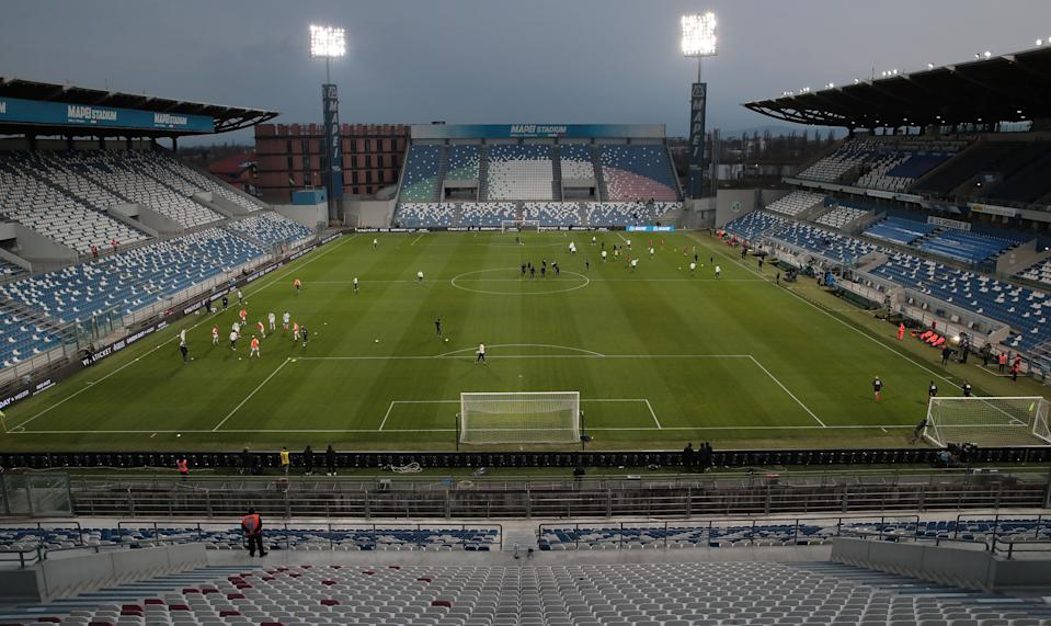 A general view inside the empty stadium as fans cannot attend the match due to the medical emergency Covid-19 (Coronavirus) prior to the Serie A match between US Sassuolo and Brescia Calcio at Mapei Stadium - Citta del Tricolore on March 9, 2020 in Reggio nell'Emilia, Italy