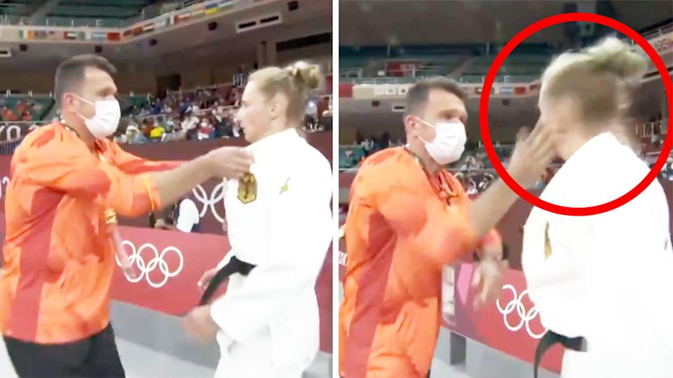 Martyna Trajdos (pictured right) being shaken and slapped by her coach in a fire-up routine at the Olympics.