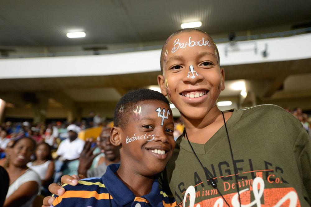 BRIDGETOWN, BARBADOS - AUGUST 1: Bajan Tridents fans at the Third Match of the Cricket Caribbean Premier League between Barbados Tridents v Antigua Hawksbills at Kensington Oval on August 1, 2013 in Bridgetown, Barbados. (Photo by Mike Toy/Getty Images Latin America for CPL)