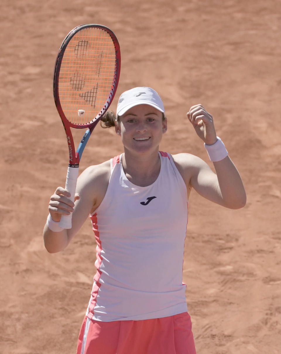 Slovenia's Tamara Zidansek celebrates after defeating Canada's Bianca Andreescu during their first round match on day two of the French Open tennis tournament at Roland Garros in Paris, France, Monday, May 31, 2021. (AP Photo/Christophe Ena)