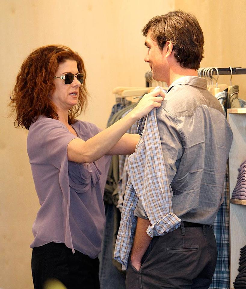 """Debra Messing steps in to help the actor-turned-law-student pick out a new shirt. <a href=""""http://www.infdaily.com"""" target=""""new"""">INFDaily.com</a> - February 24, 2010"""