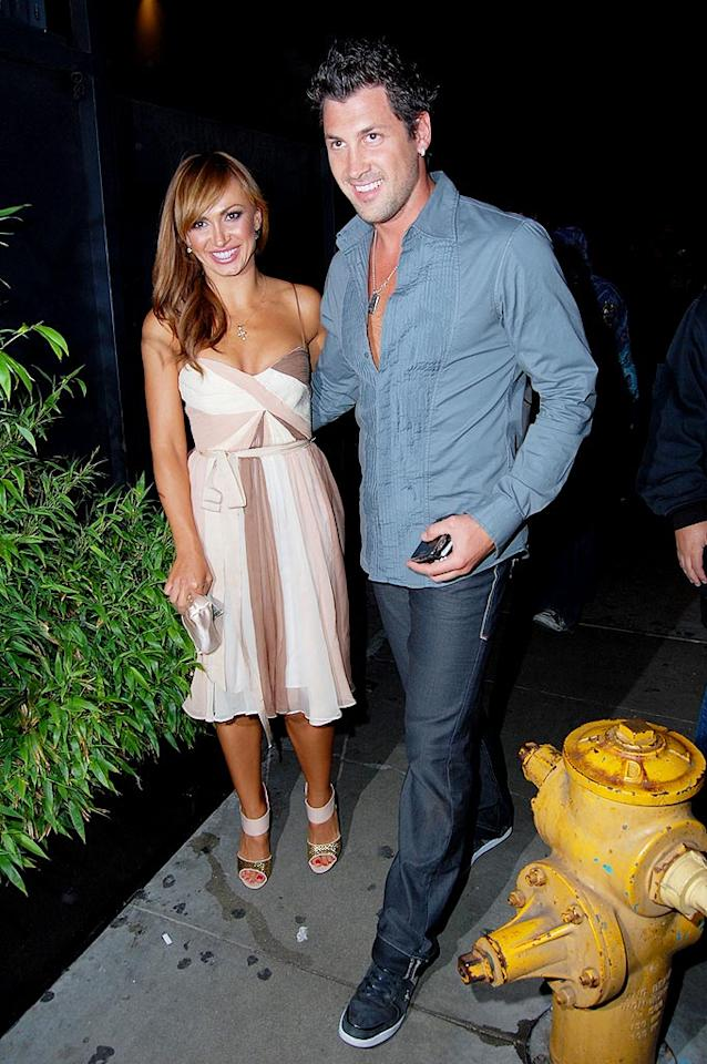 """With all the dancing that they do, Karina Smirnoff and Maksim Chmerkovskiy definitely need to load up on carbs and protein. IAKONA/London Entertainment/<a href=""""http://www.splashnewsonline.com"""" target=""""new"""">Splash News</a> - May 12, 2009"""