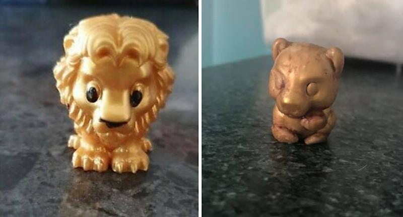 Pictured are two dirty Lion King Ooshies that have been removed from a dog.