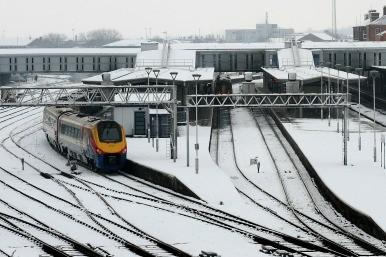 Derby train in snow