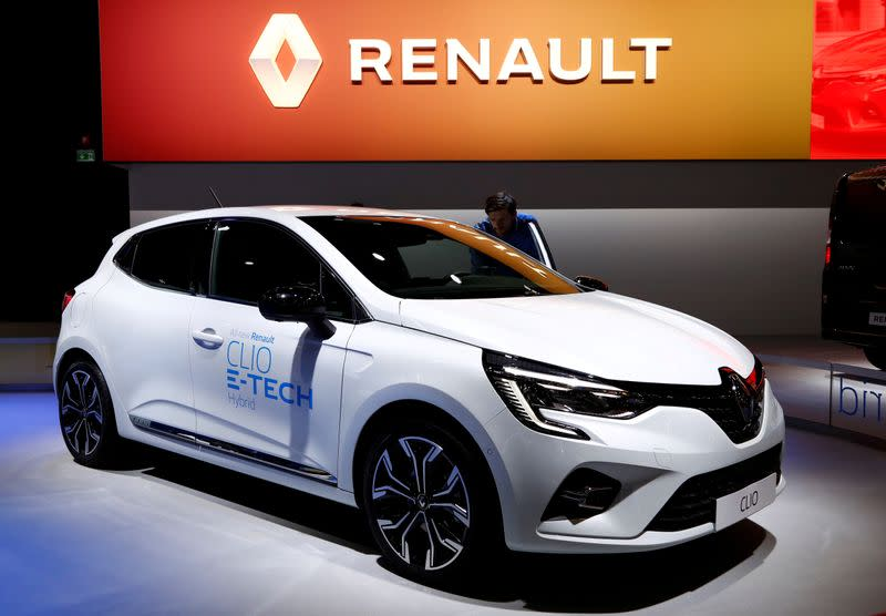 FILE PHOTO: A Renault Clio E-Tech Hybrid car is seen at Brussels Motor Show