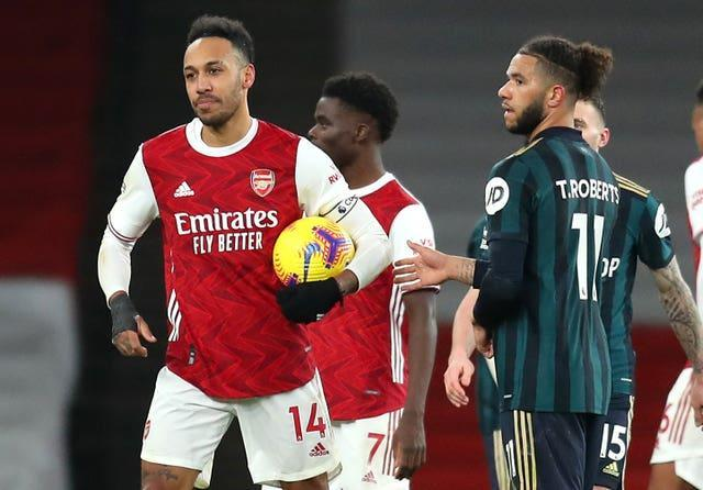 Pierre-Emerick Aubameyang (left) scored a hat-trick for Arsenal against Leeds but was unable to get on the scoresheet in Rome