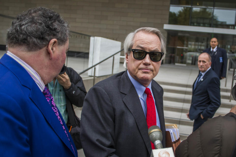 Attorney Lin Wood speaks to members of the media while at US District Court, Central District of California in Los Angeles. (Photo by Apu Gomes/Getty Images)