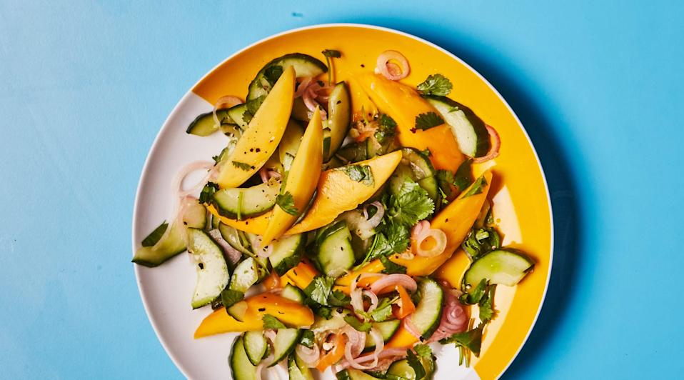 This chow recipe uses both mangoes and cucumbers.