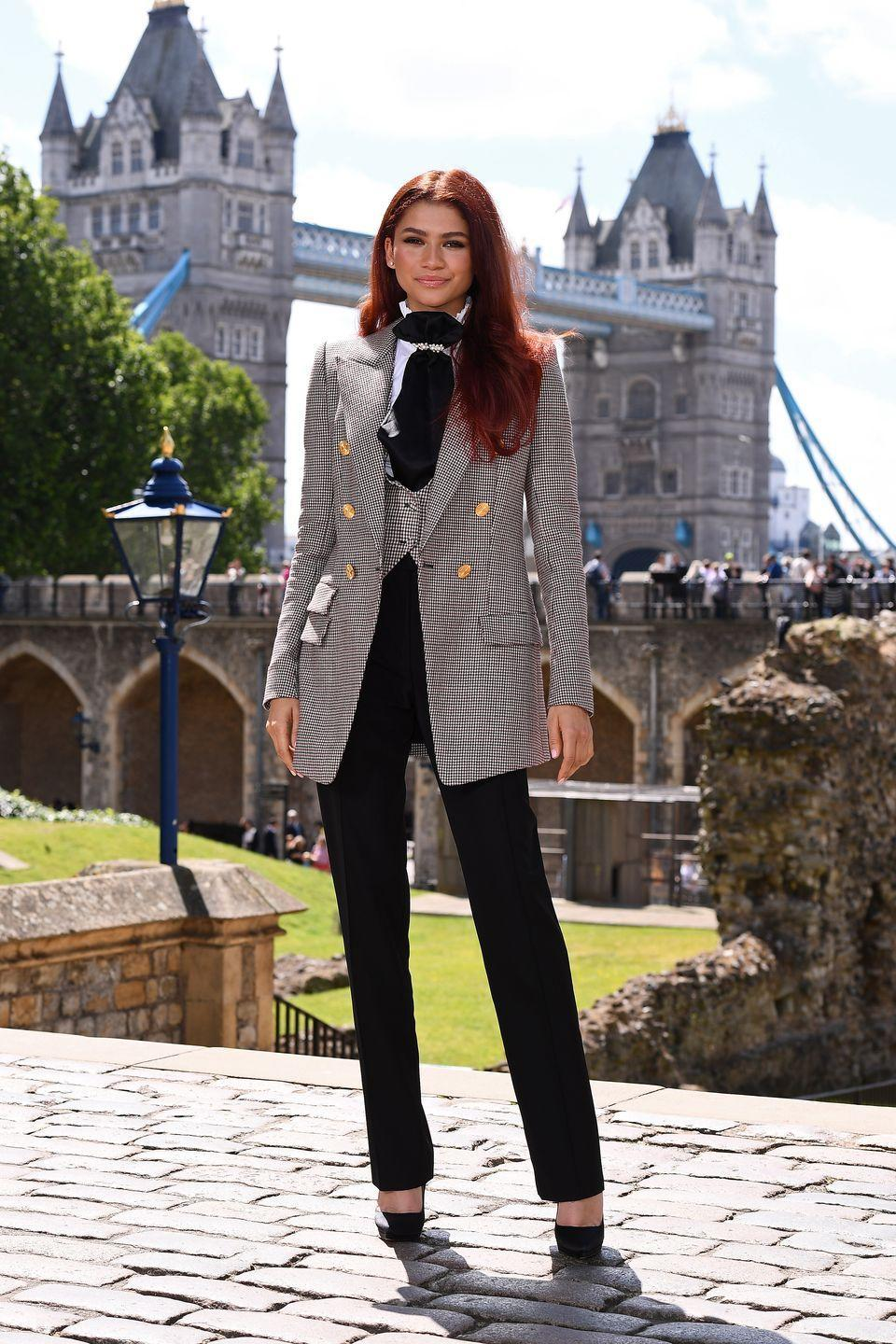 <p>It's pretty tough to steal the show from the literal Tower of London, but Z did just that at this photocall for <em>Spider-Man: Far From Home</em>. She debuted her then-new copper hair in this sharp Alexandre Vauthier suit. </p>