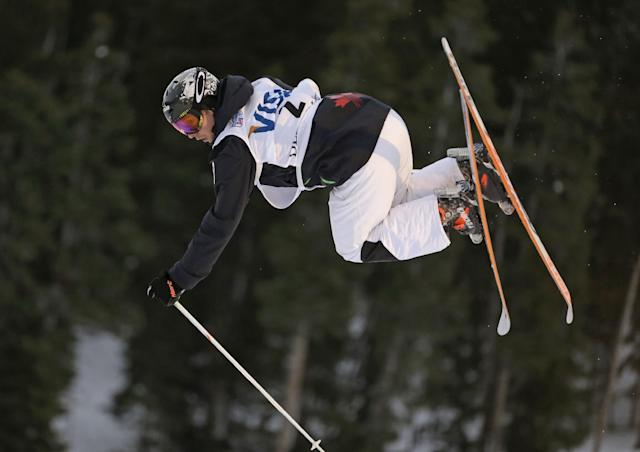 Alex Bilodeau, of Canada, competes during the men's freestyle World Cup moguls event Saturday, Jan. 11, 2014, in Park City, Utah. (AP Photo/Rick Bowmer)
