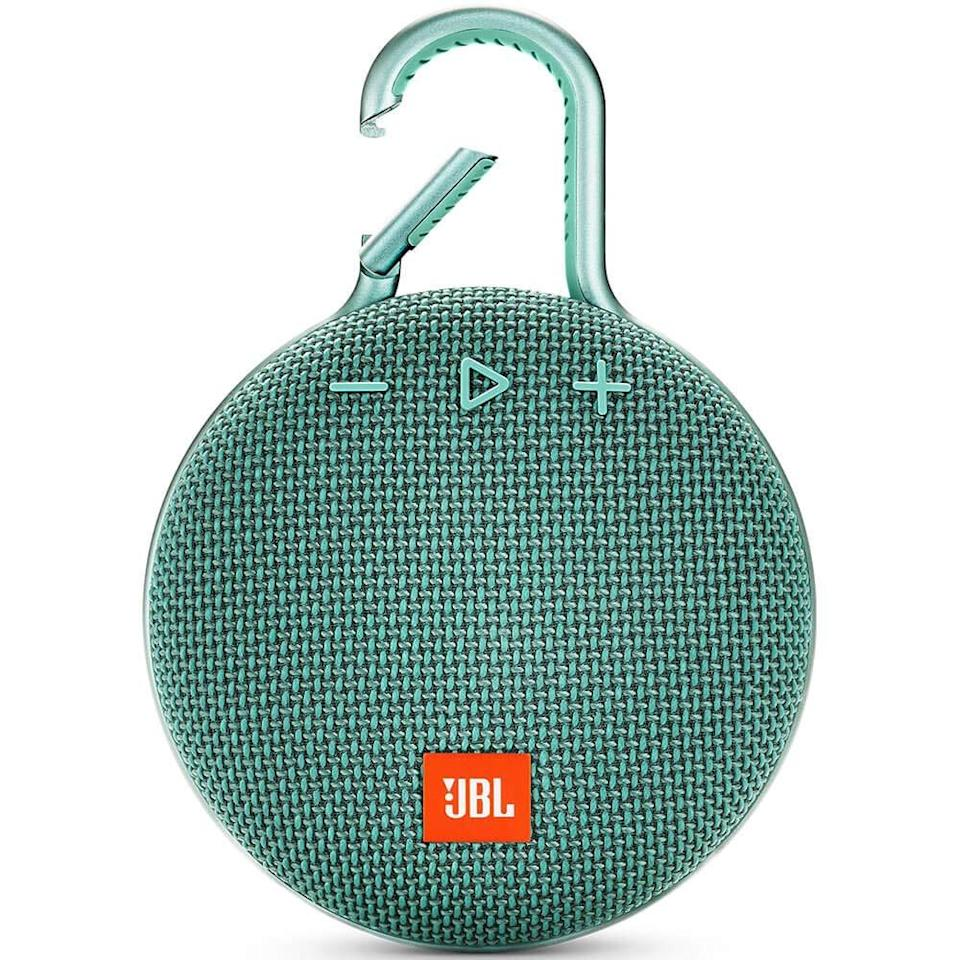 """<h3>JBL Clip Bluetooth Speaker<br></h3> <br>The person who rides around the city blasting their own private tunes to the entire world is a polarizing individual. However, we always get excited when they ride by, so we are going to suggest adding a lil' portable speaker to your cycling kit. <br><br>It <em>is</em> a good way to make your presence known to other cyclists, after all.<br><br><strong>JBL</strong> CLIP 3 - Waterproof Portable Bluetooth Speaker, Teal, $, available at <a href=""""https://amzn.to/3eJnogh"""" rel=""""nofollow noopener"""" target=""""_blank"""" data-ylk=""""slk:Amazon"""" class=""""link rapid-noclick-resp"""">Amazon</a><br><br><br>"""