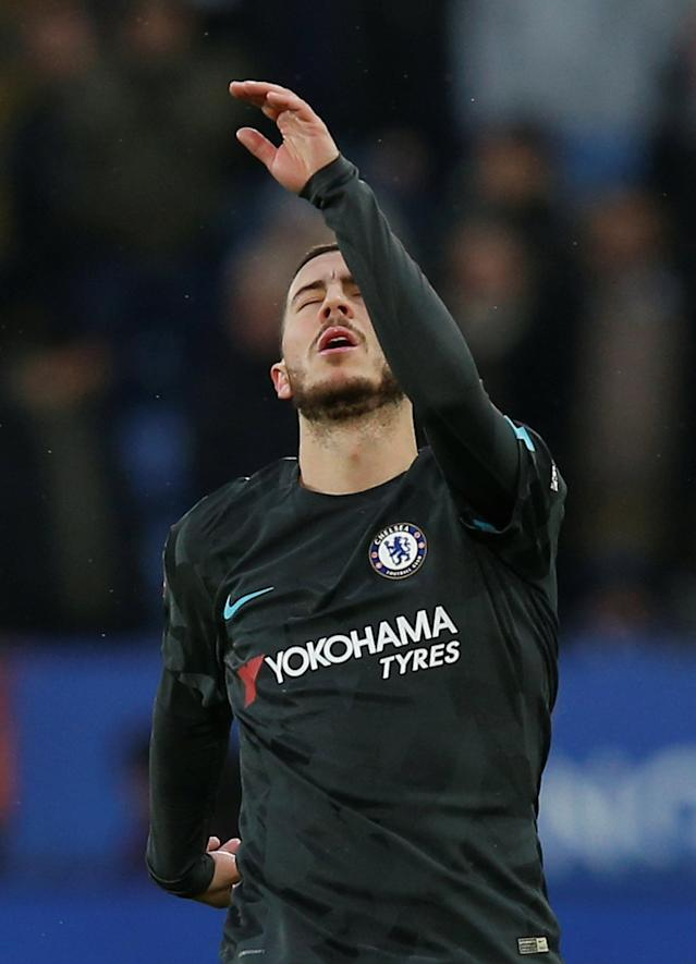 Soccer Football - FA Cup Quarter Final - Leicester City vs Chelsea - King Power Stadium, Leicester, Britain - March 18, 2018 Chelsea's Eden Hazard reacts REUTERS/Andrew Yates