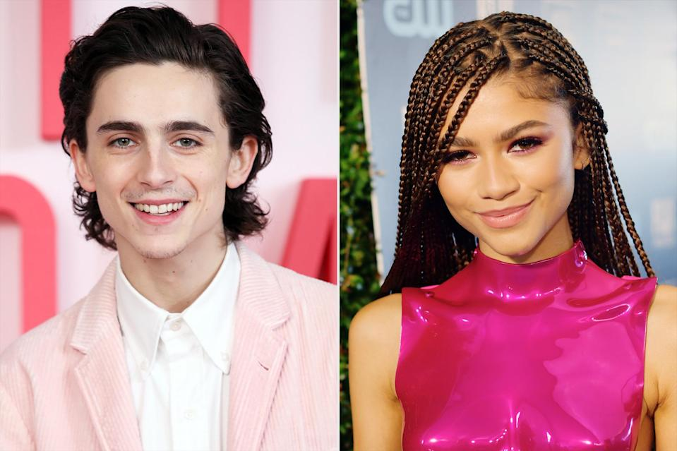 """<p>The <i>Dune</i> costars made one fan's lucky day when they were spotted <a href=""""https://www.instyle.com/news/zendaya-timothee-chalamet-bed-bath-beyond"""" rel=""""nofollow noopener"""" target=""""_blank"""" data-ylk=""""slk:shopping together in a Bed Bath & Beyond"""" class=""""link rapid-noclick-resp"""">shopping together in a Bed Bath & Beyond</a> in New York City at the start of 2020. Beyond their apparent love of home appliances, the pair share a reverence for getting to work with creative minds, which they discussed over the phone for Zendaya's December 2020 cover interview with <a href=""""https://www.elle.com/culture/a34601455/zendaya-euphoria-dune-interview/"""" rel=""""nofollow noopener"""" target=""""_blank"""" data-ylk=""""slk:Elle"""" class=""""link rapid-noclick-resp""""><i>Elle</i></a>. </p> <p>Chatting about their time on the <i>Dune</i> set together (where they occasionally threw dance parties in the <i>Euphoria</i> star's room) and Zendaya's other projects during quarantine, she noted, """"Like I said, I'm lucky I've been able to work with cool people such as yourself. I'm grateful that you've all ended up being really wonderful people who became my friends.""""</p>"""