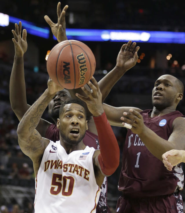Iowa State guard DeAndre Kane (50) looks to shoot against North Carolina Central forward Jay Copeland (1) during the first half of a second-round game in the NCAA college basketball tournament Friday, March 21, 2014, in San Antonio. (AP Photo/David J. Phillip)