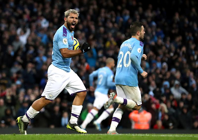 Manchester City's Sergio Aguero celebrates scoring his side's first goal of the game during the Premier League match at The Etihad Stadium, Manchester. (Photo by Martin Rickett/PA Images via Getty Images)