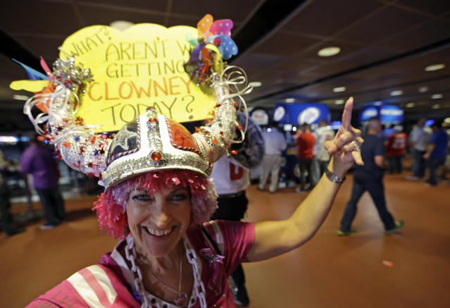 Houston Texans fan, who calls herself Patty Thehornscream, celebrates after the Houston Texans drafted South Carolina defensive end Jadeveon Clowney as the number one pick in the first round of NFL draft Thursday, May 8, 2014, in Houston. (AP Photo/David J. Phillip)