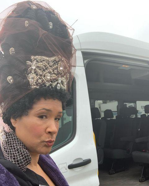 """<p>""""Travels to set sometimes required alternative transportation for me and my wigs. This minibus came in very handy 🤪. """" the actress wrote.</p><p><a href=""""https://www.instagram.com/p/CJTa694j9MP/"""" rel=""""nofollow noopener"""" target=""""_blank"""" data-ylk=""""slk:See the original post on Instagram"""" class=""""link rapid-noclick-resp"""">See the original post on Instagram</a></p>"""