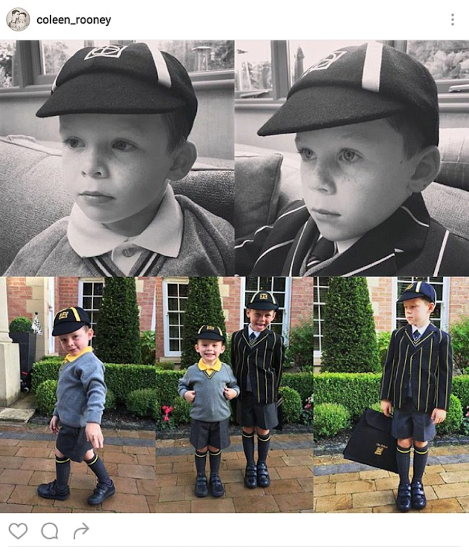 <p>Britain's best-loved WAG shared this snap of Kai and Klay heading back to the classroom. Not sure if that's their school or the massive Rooney mansion pictured in the background.<i> (Photo: Instagram)</i></p>