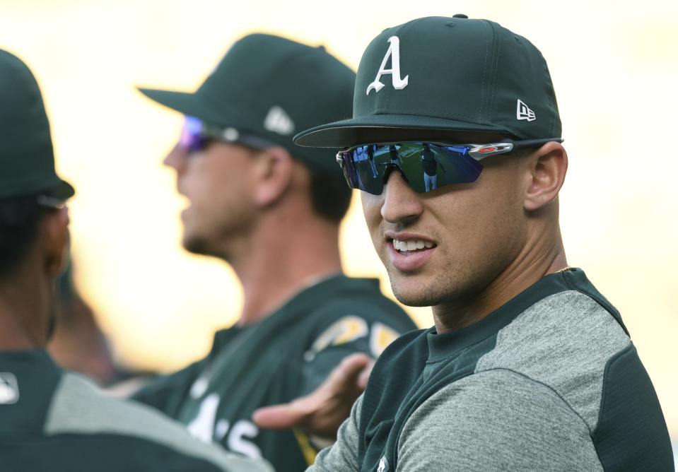 Oakland Athletics' outfielder Trayce Thompson robbed Yasiel Puig of a home run in his return to Dodger Stadium. (AP)