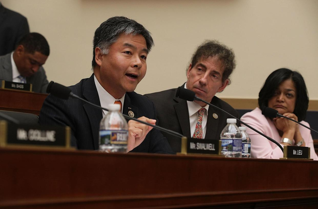 Rep. Ted Lieu, D-Calif., front row, left. (Photo: Alex Wong/Getty Images)