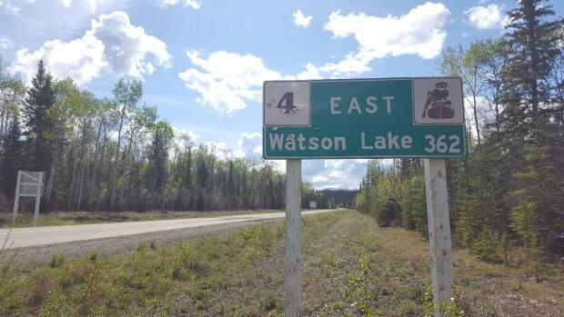 A section of the Robert Campbell Highway between Ross River and Watson Lake, Yukon, is closed due to a forest fire.  (Paul Tukker/CBC  - image credit)